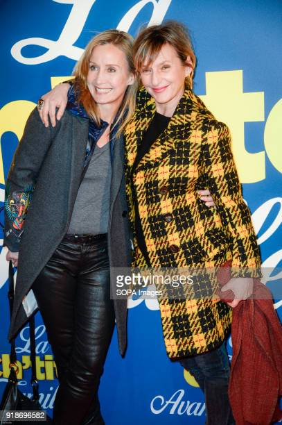 Actress Catherine Marchal and Sophie Mounicot at the premiere La Ch tite Famille at the cinema Gaumont Capucines in Paris
