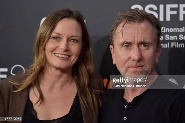 Actress Catherine McCormack and actor Tim Roth attends the red carpet on the closure day of 67th San Sebastian International Film Festival on...