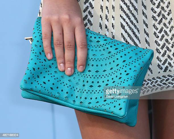 Actress Catherine Missal purse detail attends the premiere of Warner Bros Vacation at the Regency Village Theatre on July 27 2015 in Westwood...