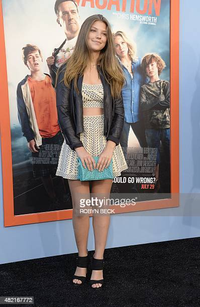 Actress Catherine Missal the premiere of Warner Bros' Vacation at the Regency Village Theatre in Los Angeles on July 27 2015 AFP PHOTO/ROBYN BECK