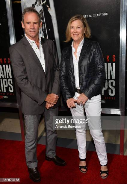 Actress Catherine O'Hara and her husband Bo Welch arrive at the Los Angeles premiere of Captain Phillips at the Academy of Motion Picture Arts and...