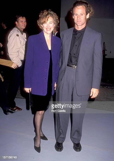 Actress Catherine O'Hara and husband Bo Welch attend the Edward Scissorhands Westwood Premiere on December 6 1990 at Avco Center Cinemas in Westwood...