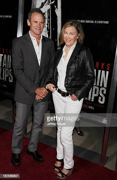 Actress Catherine O'Hara and husband production designer Bo Welsh arrive at the Los Angeles premiere of 'Captain Phillips' at the Academy of Motion...