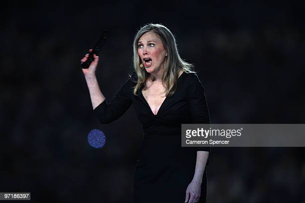 Actress Catherine O'Hara speaks during the Closing Ceremony of the Vancouver 2010 Winter Olympics at BC Place on February 28 2010 in Vancouver Canada