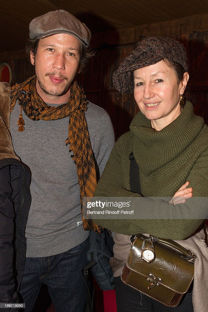 Actress Catherine Schaub-Abkarian (R) and guset attend the premiere of 'Menelas rebetiko rapsodie', he wrote and directed, at Le Grand Parquet on January 9, 2013 in Paris, France.
