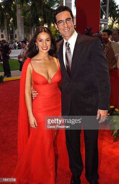 Actress Catherine Siachoque and actor Miguel Varoni attend the Billboard Latin Music Awards May 9 2002 at the Jackie Gleason Theater in Miami Beach FL