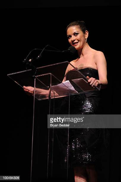 Actress Catherine Zeta Jones speaks onstage at the The Film Society of Lincoln Center's 37th Annual Chaplin Award gala at Alice Tully Hall on May 24...
