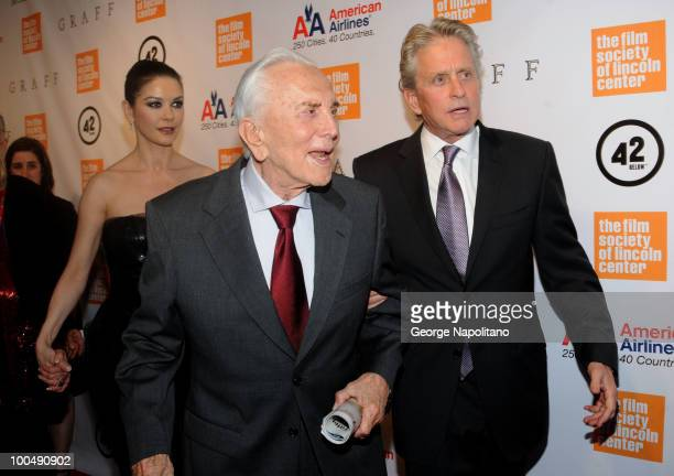 Actress catherine Zeta-Jones, actor Kirk Douglas and son Michael Douglas attend the The Film Society of Lincoln Center's 37th Annual Chaplin Award...
