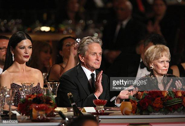 Actress Catherine ZetaJones actor Michael Douglas and mother Diana Douglas in the audience during the AFI Lifetime Achievement Award A Tribute to...