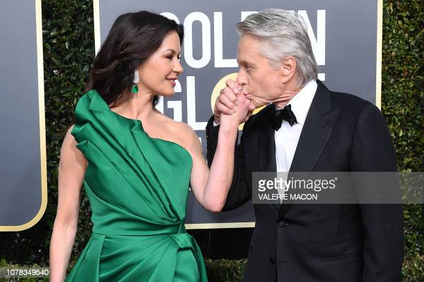 "Actress Catherine Zeta-Jones and Best Performance by an Actor in a Television Series Musical or Comedy for ""The Kominsky Method"" nominee Michael..."