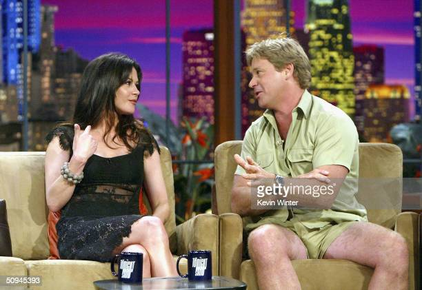 "Actress Catherine Zeta-Jones and ""Crocodile Hunter"" Steve Irwin appear on ""The Tonight Show with Jay Leno"" at the NBC Studios on June 9, 2004 in..."