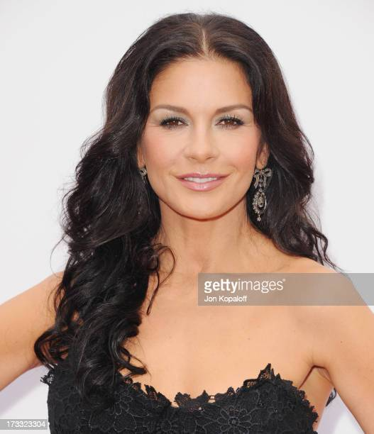 """Actress Catherine Zeta-Jones arrives at the Los Angeles Premiere """"Red 2"""" at Westwood Village on July 11, 2013 in Los Angeles, California."""