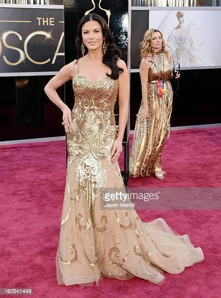 Actress Catherine ZetaJones arrives at the Oscars at Hollywood Highland Center on February 24 2013 in Hollywood California