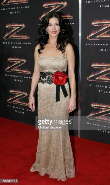 Actress Catherine ZetaJones arrives at the premiere of 'The Legend of Zorro' at the Orpheum Theatre on October 16 2005 in Los Angeles California
