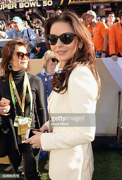 Actress Catherine ZetaJones attends Super Bowl 50 at Levi's Stadium on February 7 2016 in Santa Clara California