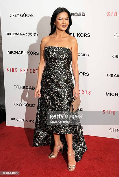 Actress Catherine ZetaJones attends the premiere of Side Effects hosted by Open Road with The Cinema Society and Michael Kors at AMC Lincoln Square...