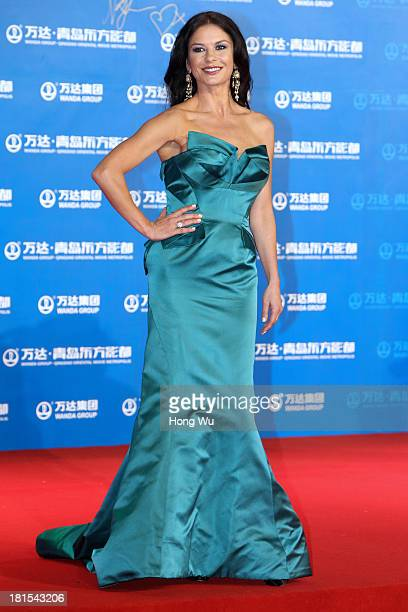 Actress Catherine ZetaJones attends the red carpet show for the Qingdao Oriental Movie Metropolis on September 22 2013 in Qingdao China