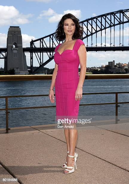 Actress Catherine ZetaJones poses for the media during a media call for her latest film `Death Defying Acts' at the State Theatre on March 10 2008 in...