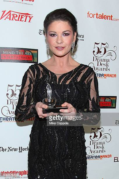 Actress Catherine ZetaJones receives an award at the 55th Annual Drama Desk Awards at the FH LaGuardia Concert Hall at Lincoln Center on May 23 2010...
