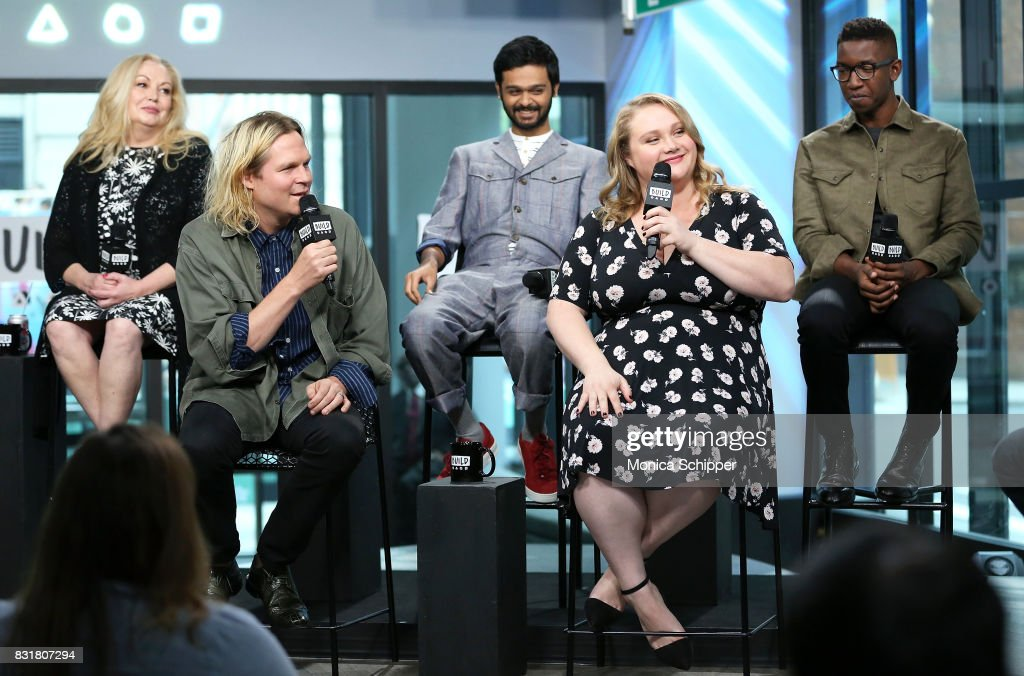 Actress Cathy Moriarty, filmmaker Geremy Jasper, and actors Siddharth Dhananjay, Danielle Macdonald and Mamoudou Athie visit Build Series to discuss the movie 'Patti Cake$' at Build Studio on August 15, 2017 in New York City.