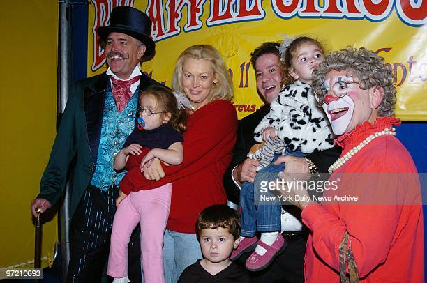 Actress Cathy Moriarty husband Joseph Gentile and children Annabella Joey and Cathy meet up with emcee Dinny McGuire and Grandma the clown during the...