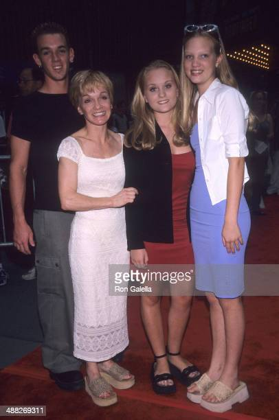 """Actress Cathy Rigby and children Ryan Mason, Theresa McCoy and Kaitlin McCoy attend the """"Bowfinger"""" New York City Premiere on July 26, 1999 at the..."""