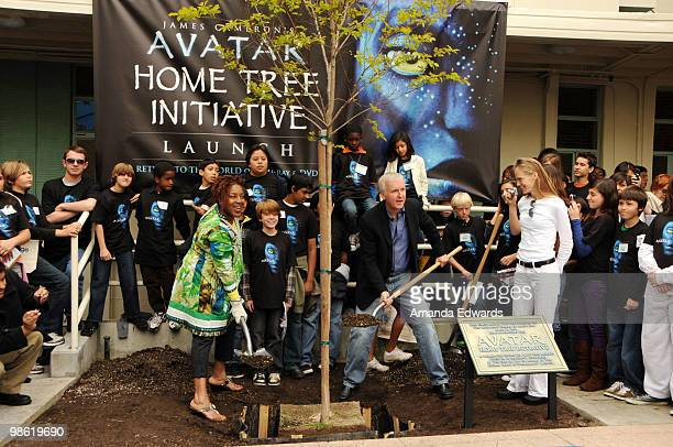 Actress CCH Pounder James Cameron and Suzy Amis attend the 20th Century Fox Earth Day Network's Avatar Tree Planting Event on April 22 2010 in Los...