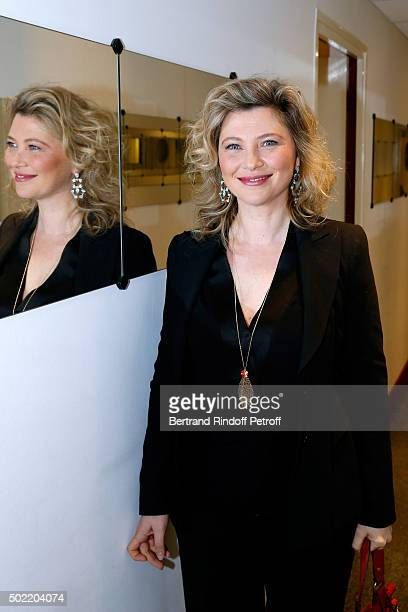 Actress Cecile Bois presents the TV Series 'Candice Renoir' during the 'Vivement Dimanche' French TV Show at Pavillon Gabriel on December 21 2015 in...