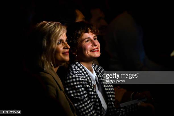 Actress Cecile Cassel and Heloise Adelaide Letissier of Christine and the Queens attend the Ami Alexandre Mattiussi Menswear Fall/Winter 20202021...