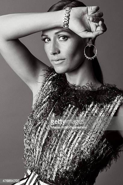 Actress Cecile de France is photographed for Madame Figaro on May 17 2015 at the Cannes Film Festival in Cannes France Dress earrings and Strada...