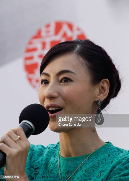 Actress Cecilia Cheung attends a Open Talk during the 17th Busan International Film Festival at the Haeundae beach on October 6 2012 in Busan South...