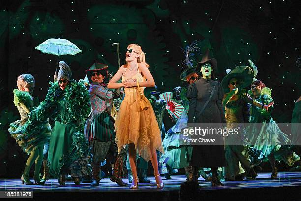 Actress Cecilia de la Cueva performs on stage during the musical Wicked media call at Teatro Telmex on October 18 2013 in Mexico City Mexico