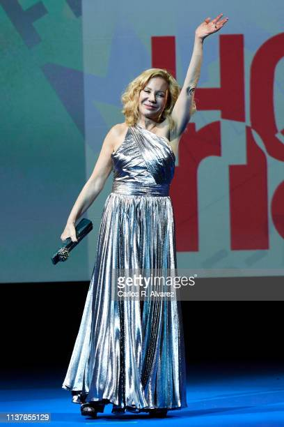 Actress Cecilia Roth receives the 'Retrospeciva' award during the 22th Malaga Film Festival on March 22 2019 in Malaga Spain