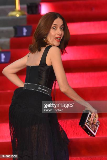 Actress Cecilia Suarez gestures prior the Dolce Gabbana Alta Moda and Alta Sartoria collections Red Carpet at Soumaya Museum on April 18 2018 in...