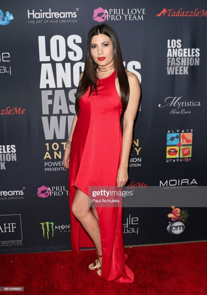 Actress Celeste Thorson attends the Domingo Zapata Fashion Show at the Los Angeles Fashion Week 10th season anniversary at The MacArthur on March 12, 2018 in Los Angeles, California.