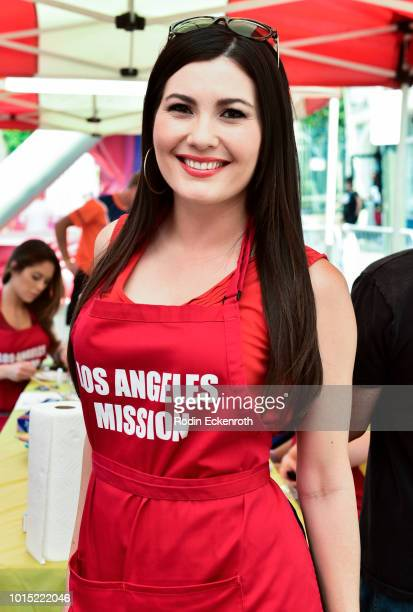 Actress Celeste Thorson poses at the Los Angeles Mission's End of Summer Art and Education Fair at Los Angeles Mission on August 11 2018 in Los...