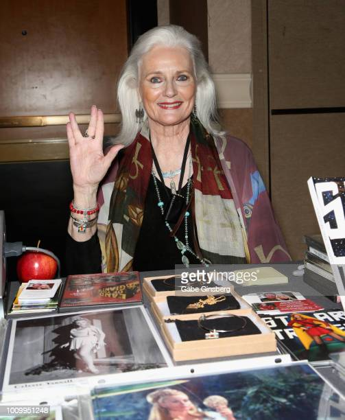 Actress Celeste Yarnall attends the 17th annual official Star Trek convention at the Rio Hotel Casino on August 2 2018 in Las Vegas Nevada