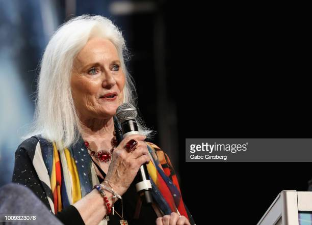Actress Celeste Yarnall speaks during the 'Guest Stars of the Original Series Part 1 ' panel at the 17th annual official Star Trek convention at the...