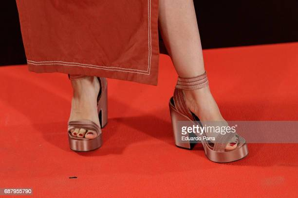 Actress Celia Freijeiro, shoes detail, attends the 'El Jardin del Miguel Angel' party photocall at Miguel Angel hotel on May 24, 2017 in Madrid,...