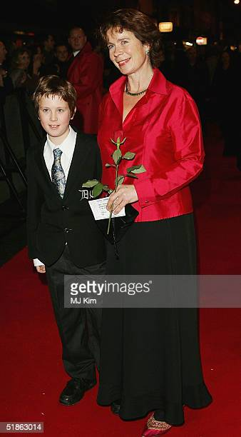 """Actress Celia Imrie and her son Angus arrives at the London Premiere and Press Night for the new stage musical adaptation of """"Mary Poppins"""" at the..."""