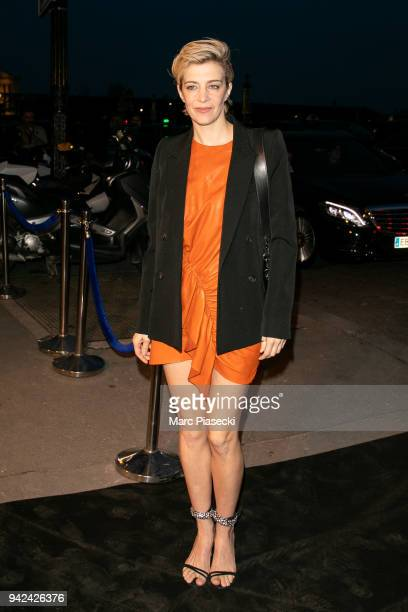 Actress Celine Sallette arrives to attend the 'Madame Figaro' dinner at Automobile Club de France on April 5 2018 in Paris France