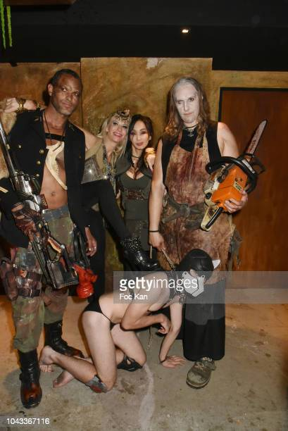 Actress Celine Tran exKatsuni and guests disguised in chainsaw slaughters Attend 'The End Apocalypse Party' at Hotel Kube on September 29 2018 in...
