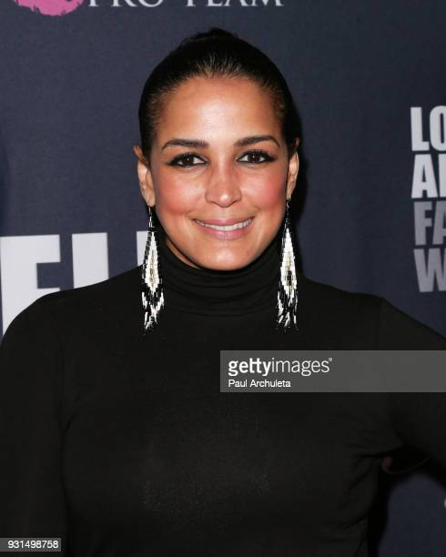 Actress Celines Toribio attends the Domingo Zapata Fashion Show at the Los Angeles Fashion Week 10th season anniversary at The MacArthur on March 12...
