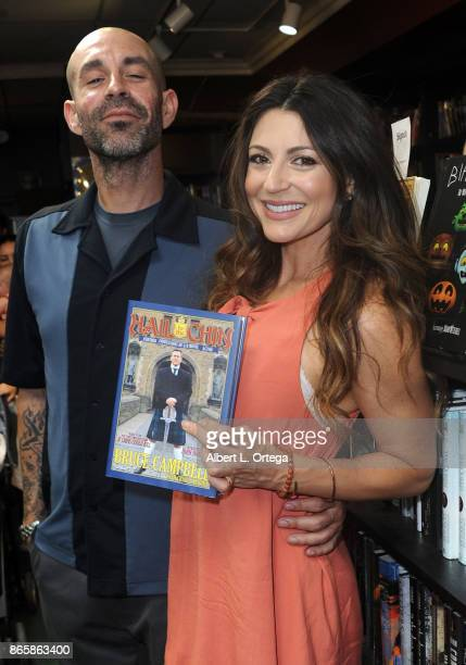 Actress Cerina Vincent and Mike Estes at Bruce Campbell's book signing for Hail To The Chin held at Dark Delicacies Bookstore on October 23 2017 in...