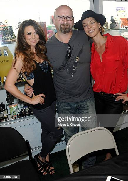 Actress Cerina Vincent director Neil Marshall and actress Pollyanna McIntosh at the Signing For The BluRay Release Of Tales Of Halloween held at Dark...