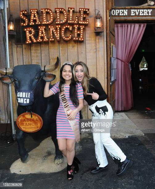 Actress Chalet Lizette Brannan and Ava Kolker attend Brannan's Sweet 16 Birthday Party at Saddle Ranch Chop House on April 12, 2021 in West...