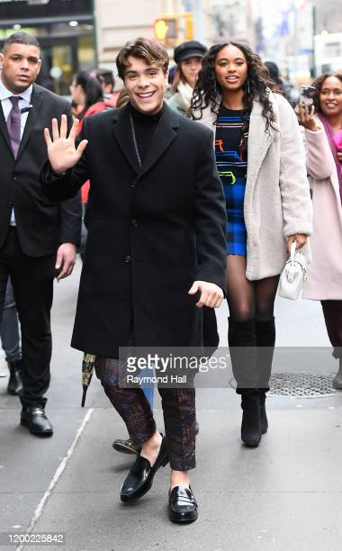 Actress Chandler Kinney and Pearce Joza are seen outside build studio on February 11 2020 in New York City