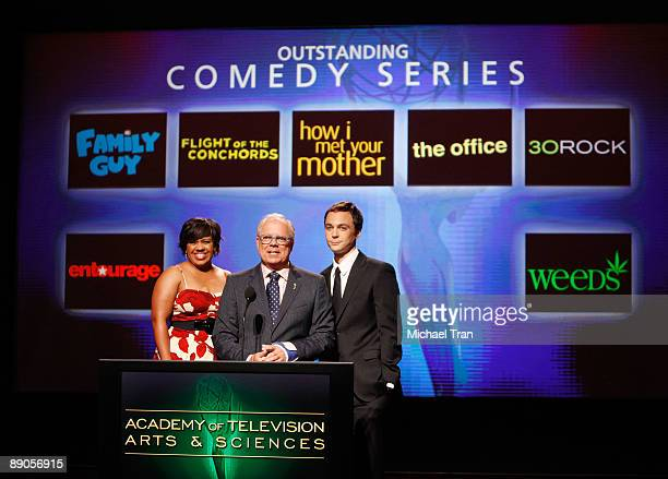 Actress Chandra Wilson, Television Academy Chairman & CEO John Shaffner and actor Jim Parsons announce the nominees for 'Outstanding Comedy Series'...
