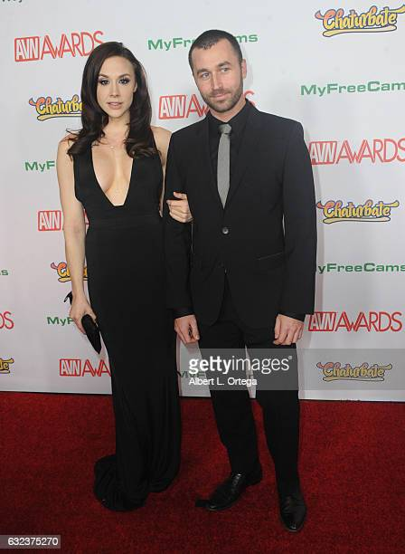 Actress Chanel Preston and actor James Deen arrive at the 2017 Adult Video News Awards held at the Hard Rock Hotel Casino on January 21 2017 in Las...