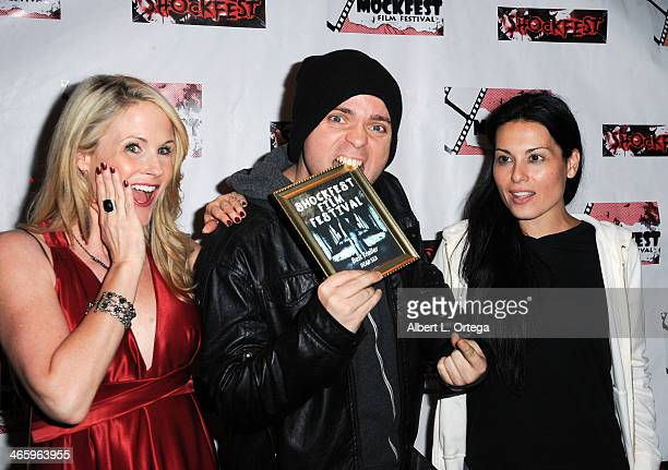 Actress Chanel Ryan director Brandon Slagle and actress Alexis Iacono attend the ShockFest Film Festival Awards held at Raleigh Studios on January 11...